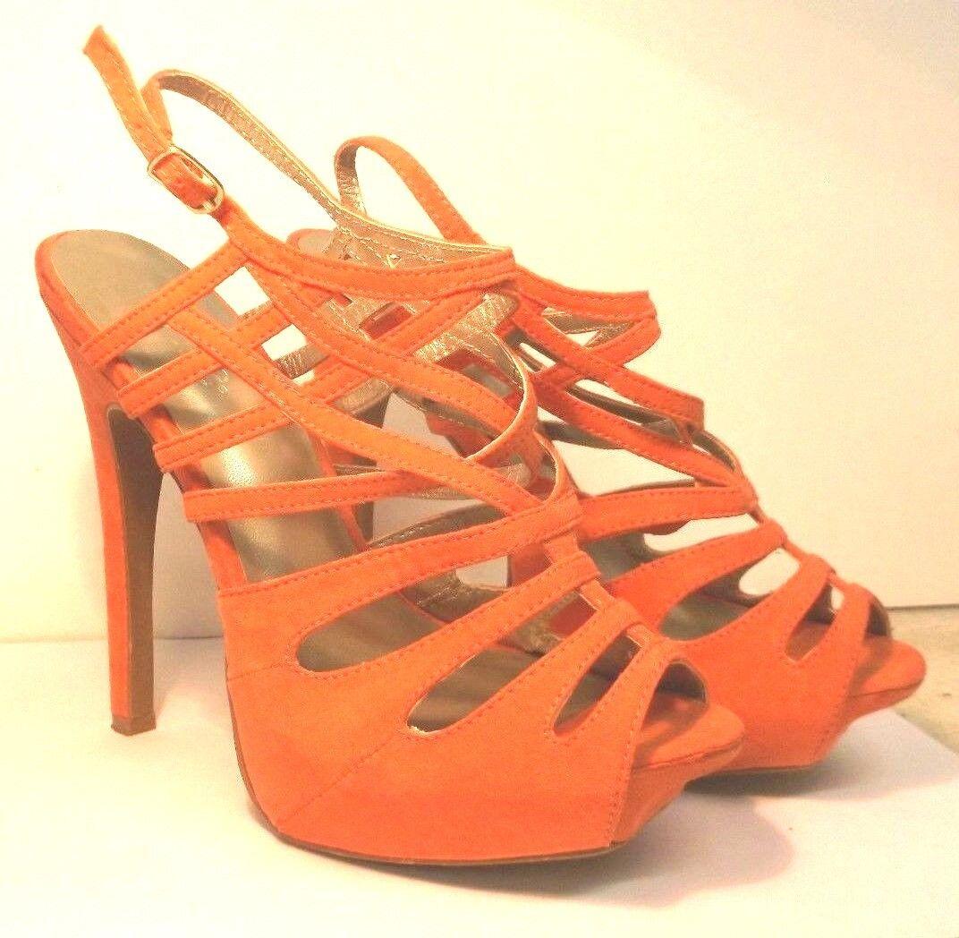 Charlotte Russe Strappy Open Peep Toe Stiletto size High Heel Platform Sandals size Stiletto 6 0806c7