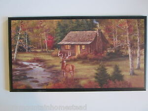 cabin amp deer wall decor sign rustic hunting lodge style country log