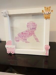 Baby girl handmade white box frame unique gift