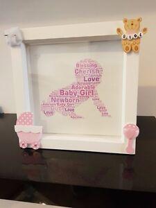 Baby girl handmade white box frame unique gift