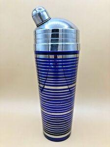 Vintage Cobalt Blue Striped Cocktail Shaker