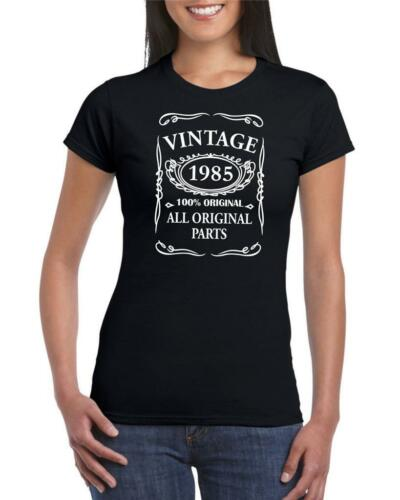 34th Birthday Present Gift Year 1985 All Original Parts Womens Retro T-Shirt