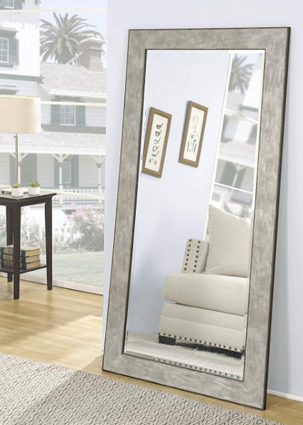 Large Wall Mirror Floor Leaning Standing Full Length Beveled Gl Lounge Gray