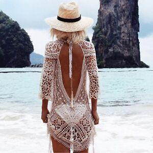 Women's Clothing Women Bathing Suit Lace Crochet Bikini Cover Up Swimwear Summer Beach Blouse
