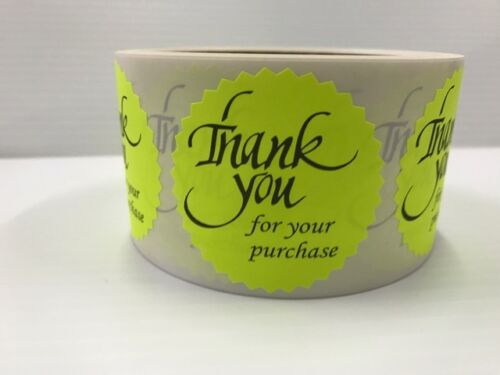 """500 THANK YOU FOR YOUR PURCHASE 2/"""" STICKER Starburst YELLOW NEON NEW THANK YOU"""