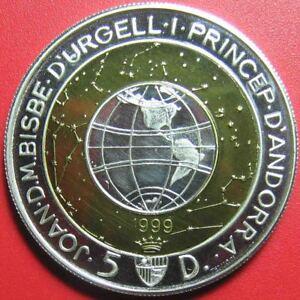 1999-ANDORRA-5-DINERS-BI-METALLIC-SILVER-amp-BRASS-WORLD-GLOBE-PLANETS-STARS-SUN