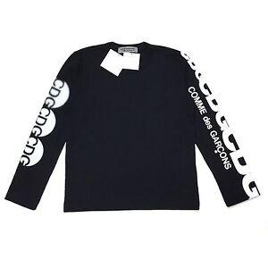 6310309c NWT Comme des Garcons JAPAN Men's Black CDG Logo Crewneck LS T-Shirt ...