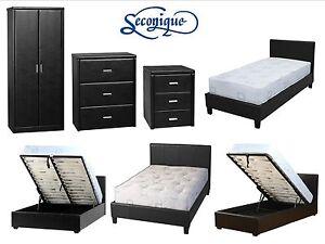 Faux-Leather-Bedroom-Furniture-Set-Wardrobe-Chest-Cabinet-Bed-Black-Brown
