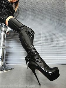 MORI-PLATFORM-OVERKNEE-HEELS-ITALY-STIEFEL-BOOTS-STRETCH-LEATHER-BLACK-NERO-39