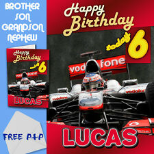 F1 MCLAREN - PERSONALISED Birthday Card Son Brother Nephew Grandson