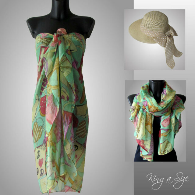Schal * Pareo Sarong Strandtuch Wickelrock Scarf Loop Tuch Beach Dress A19