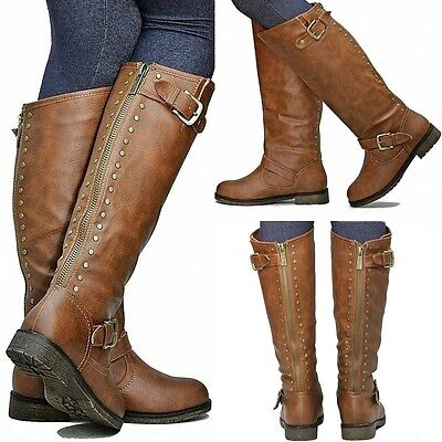 New Women TDh1 Tan Studded Riding Knee High Boots size 5 to 10