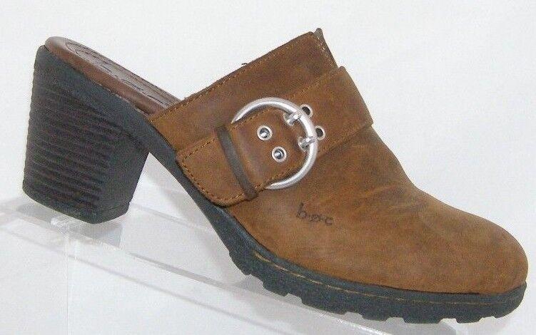 Born Concept brown nubuck leather round toe buckle slip on clog heels 8 39
