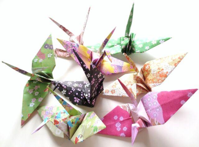 Origami Handmade Crane 8 Japanese Traditional Pattern Flower Sakura