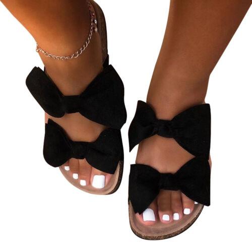 1pair Street Summer Hotel Wedge Double Bow Women Slipper Open Toe Flat Bottom