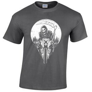 Kids-Grim-Racer-T-Shirt-Biker-metal-rock-goth-reaper-motorcycle-death-childrens