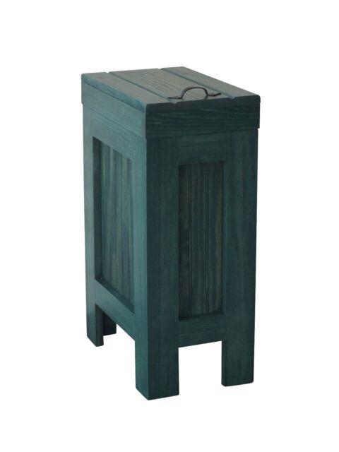 Wood Trash Can Kitchen Garbage Can Rustic Wood Trash Bin Hunter Green 13  Gallon