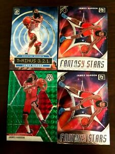 LOT of 4 - James Harden Mosaic and Optic Inserts.   2019-2020.  Green Mosaic.