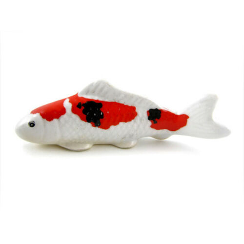 "Japanese 3/""L Ceramic NISHIKIGOI OKIMONO Koi Fish Chopstick Rest Made in Japan"