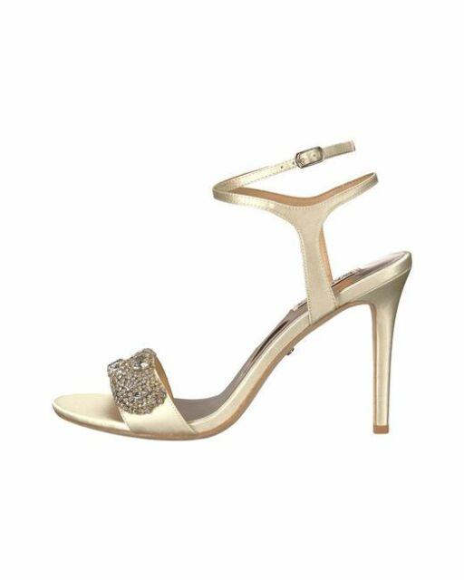 e00c610b2b6 Badgley Mischka Hailey Women s Bridal High HEELS Sandals Shoes Ivory Satin  US 8