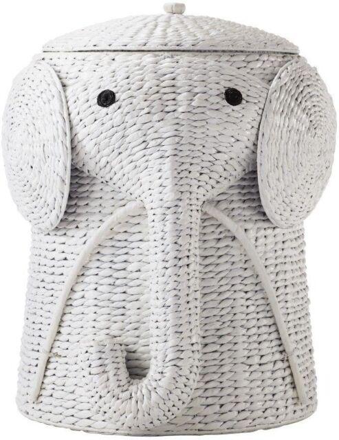 Toy Storage Bin Elephant Trunk Animal Wicker Basket Woven Laundry Hamper  White