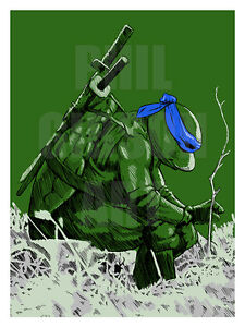 Original Leo Leonardo Tmnt Comic Art Print Poster Teenage Mutant Ninja Turtles Ebay