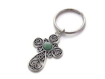90s Large Glitter Heart Dangle Keychain 1.25 Inch Diameter Key Ring