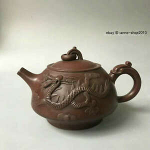 15cm-Marked-Old-Chinese-Yixing-Zisha-Pottery-Carved-Tea-Pot-Teapot-Kettle