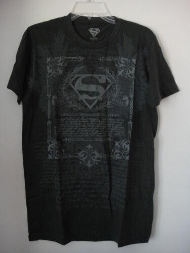 DC COMICS SUPERMAN PRINTED CHARCOAL T-SHIRT XL NWOT