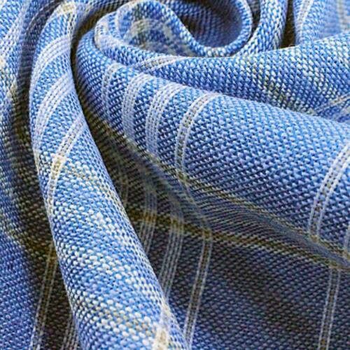 Pure 100/% Natural Washed Linen Soft Fabric190gsm 150cm Wide Blue tartan