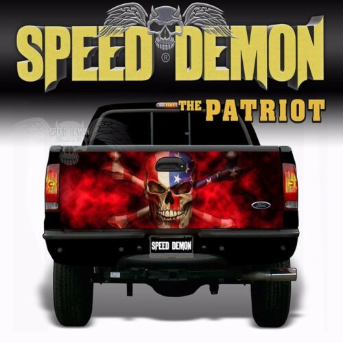 American Flag Skull TAILGATE WRAP Vinyl Graphics Decal Sticker Truck The Patriot