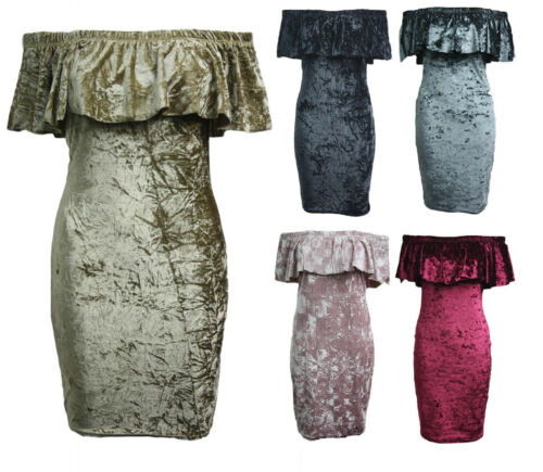 Women's Crushed Velvet Off Shoulder Bardot Ruffle Frill Top Party Bodycon Dress