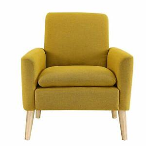 Arm-Chair-Accent-Single-Sofa-Linen-Fabric-Upholstered-Living-Room-Citrine-Yellow