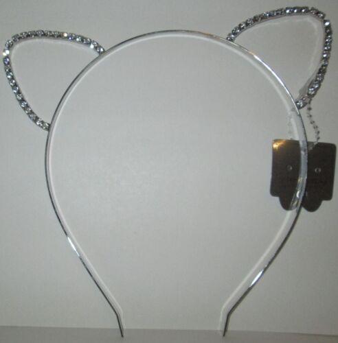Silver Tone Kitty Cat Ears Headband with Rhinestones