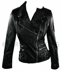 Retro Style Leather Rock Fitted Bikers Short 100 Black Real Ladies Jacket A6qRUw
