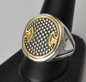 Konstantino-Men-039-s-Oval-Spear-Ring-Sz-12-Sterling-Silver-18K-Gold-Achilles-New