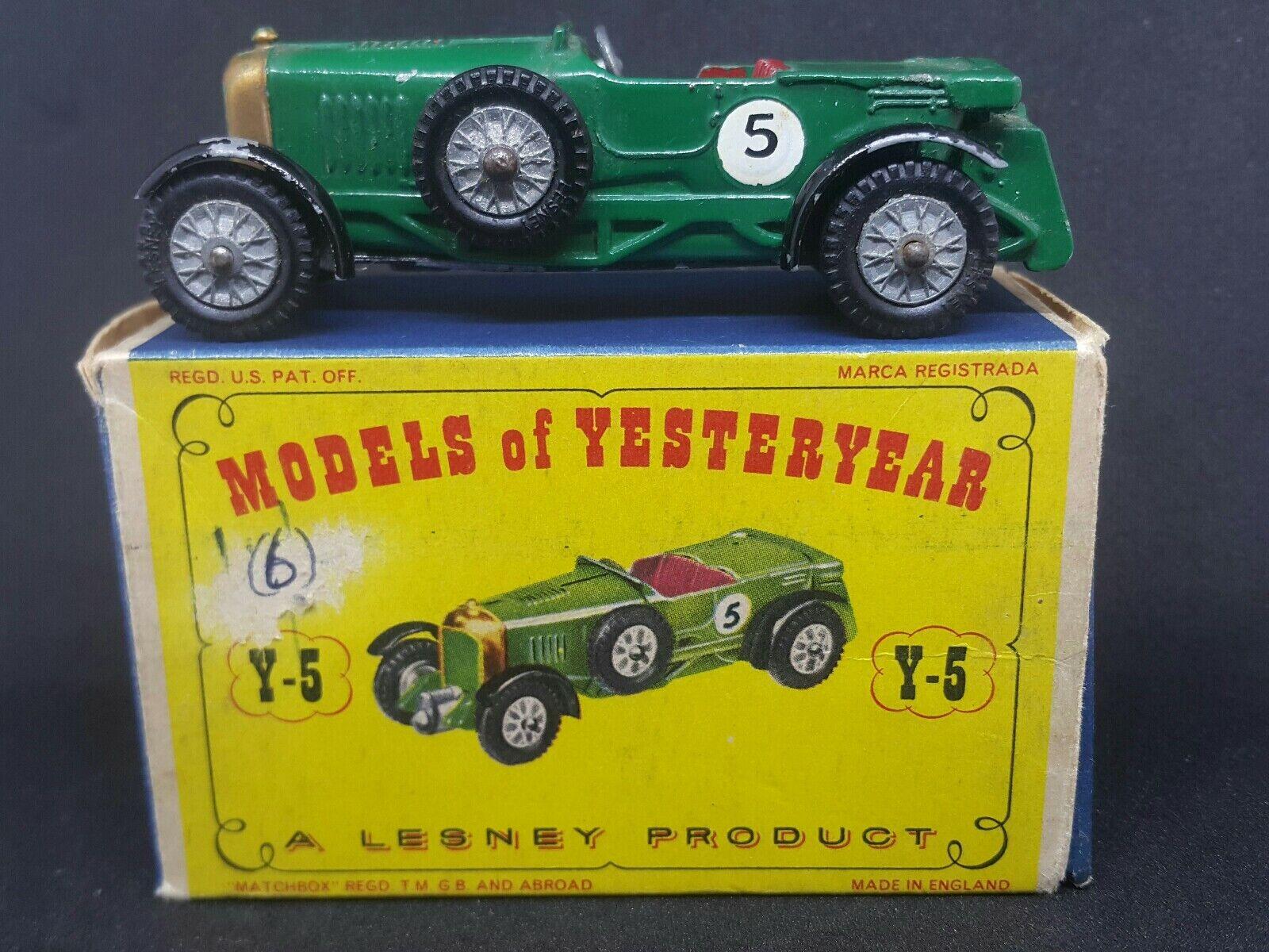 Matchbox Lesney antaño Y5 serie 1 edición 7 1929 Le Mans Bentley Caja D1
