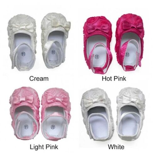 Infant Baby Booties Mary Jane Shoes Satin Slippers Ivory White Pink 12-18M