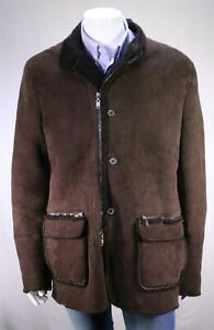 LANVIN-Paris-Recent-Brown-Suede-Leather-Lamb-Shearling-Parka-Coat-Eu-56-US-46