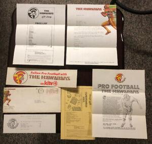 RARE-1974-WFL-Lot-The-Hawaiians-Sticker-Price-List-Envelope-Thank-You-etc