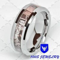 Mens Carbide Tungsten Ring Real Oak Camouflage Wedding Band Jewelry Size 8-14
