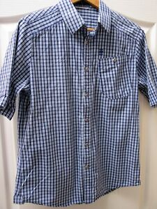 New-G-Star-Raw-Checked-Shirt-Short-Sleeves-Cotton-Plaid-Check-Blue-38-034-Chest