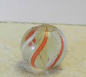 #12875m Vintage German Handmade Yellow Latticino Swirl Marble .56 Inches