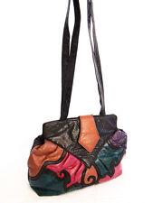 VTG 80s BOHO Festival Patchwork Multi Color Alligator Pattern Skins Purse Bag