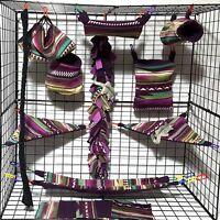 Aztec Wine Moss Cream 15 Pc Sugar Glider Cage Set Rat Double Layer Fleece
