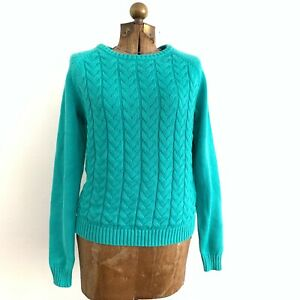 Lands-039-End-Drifter-Green-Cable-Knit-100-Cotton-Sweater-Women-039-s-Size-Medium