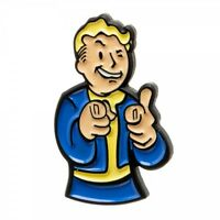 Fallout 4 Video Game Collectible Metal Pin Vault Boy Thumbs Up Pointing 2016