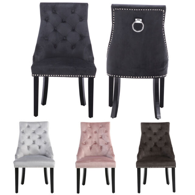 Awe Inspiring 2 4 X Velvet Upholstered Dining Chair With Studs Ring Pull Knocker Oyster Chairs Gamerscity Chair Design For Home Gamerscityorg