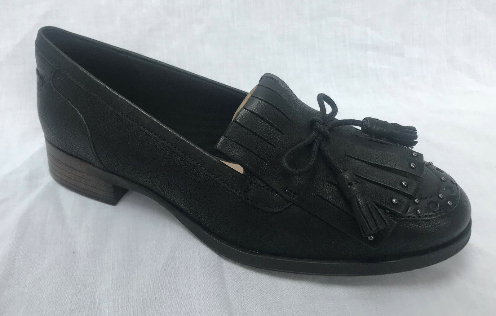 Clarks Womens Casual Clarks Busby Lola Leather Shoes in Black 6 D ... 8dd6b81df7ba0