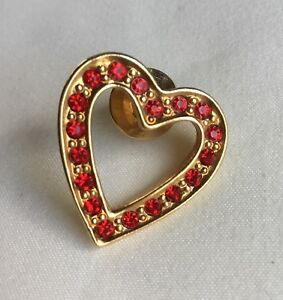 Details about Avon Stamped Gold Tone Heart Lapel Pin With Red Rhinestones